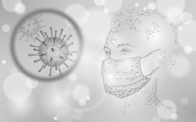 Woman face mask. Infection pneumonia prevention healthcare. 3D low poly female human white banner. Wear surgical medical mask against virus epidemic vector illustration